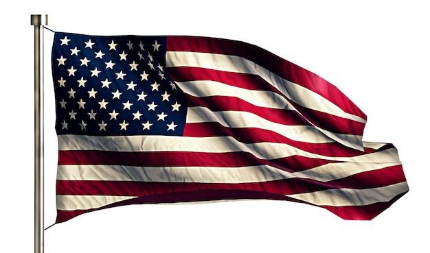 Eua américa bandeira nacional isolado 3d fundo branco