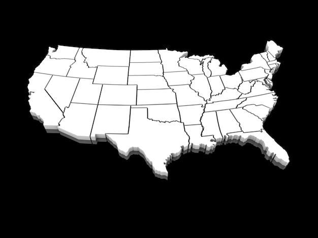 Eua mapa branco 3d