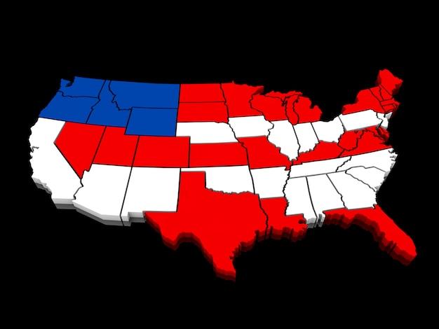 Eua mapa colorido 3d