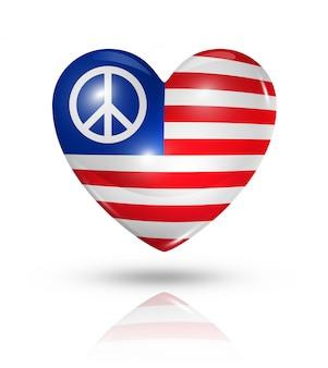 Eua paz amor símbolo coração bandeira ícone