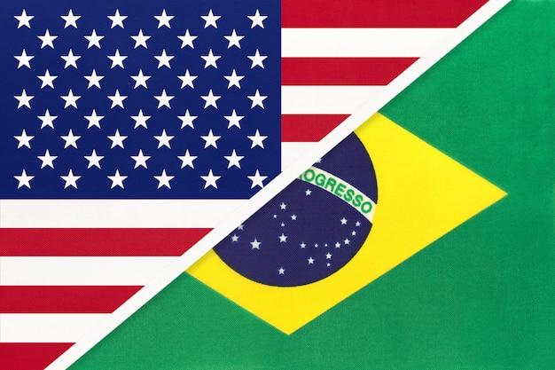 Eua vs bandeira nacional do brasil. relação entre dois países.