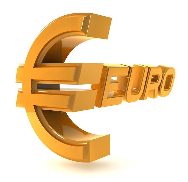 Euro emblema ouro isolado em um fundo branco