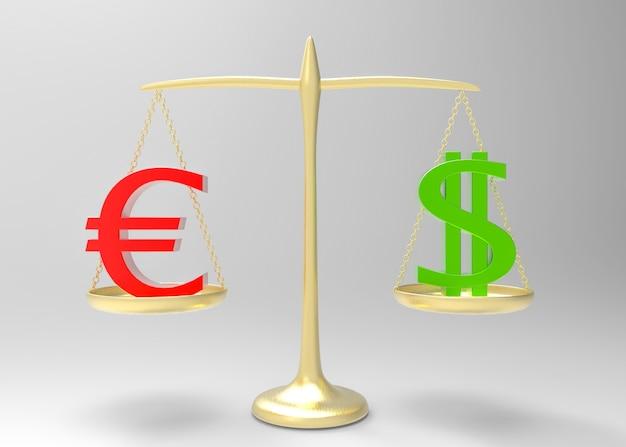 Euro vermelho igual com sinal de moeda dólar verde na escala de equilíbrio de ouro