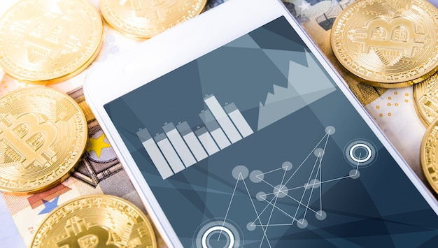 Euros e bitcoins com smartphone