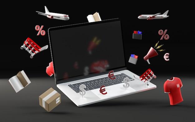 Evento especial de compras com laptop