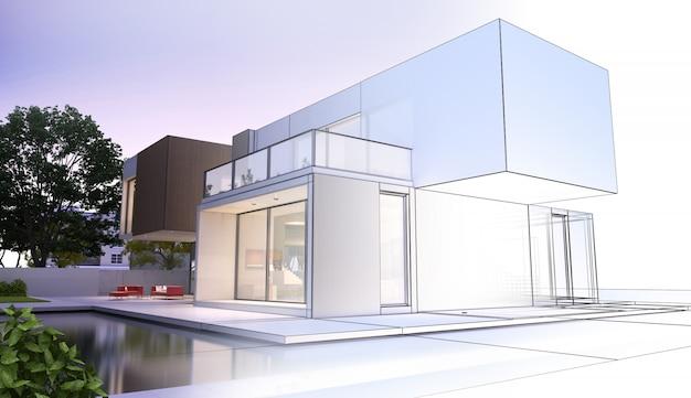 Evolução de projeto de casa luxuosa moderna