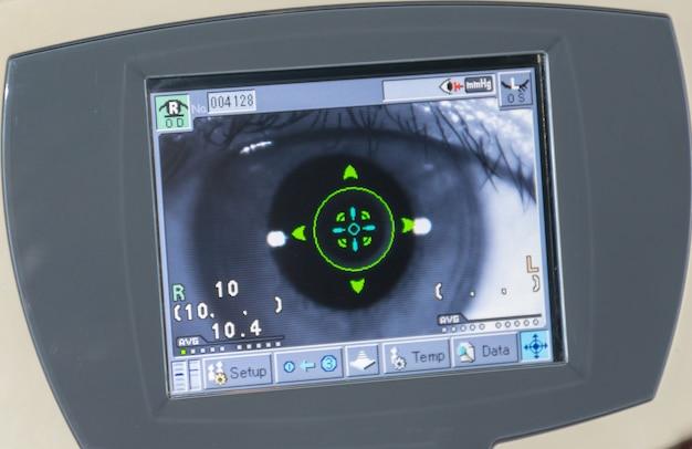 Exame oftalmológico medição da pressão de varrimento ocular