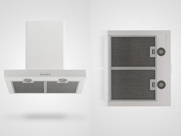 Exaustor em dois ângulos em um fundo branco. utensílios de cozinha. isolado