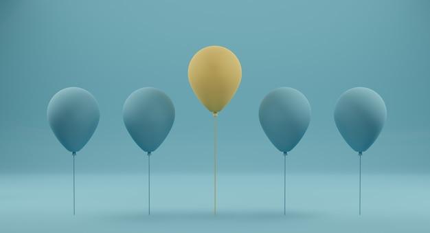 Excelente balão amarelo entre balão azul em azul