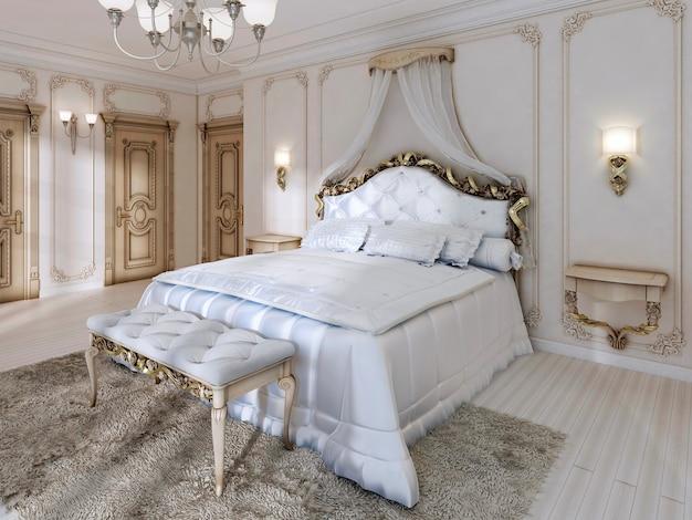 Excelente cama de dossel clássica e edredom branco macio com travesseiros e armários suspensos. 3d render.