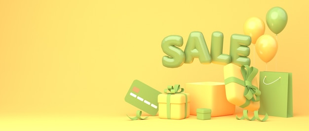 Excelente design de banner de desconto com frase em balão verde venda em fundo amarelo com caixas de presente