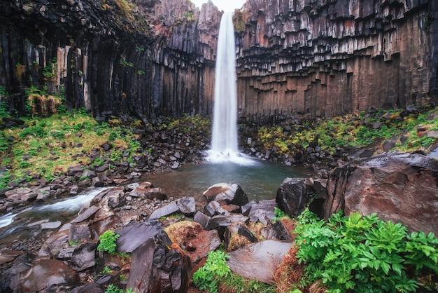Excelente vista da cachoeira svartifoss. cena dramática e pitoresca. atração turística popular. islândia