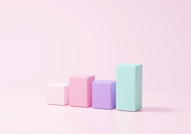 Excelentes metas de gráfico de negócios. liderança para uma nova ideia de sucesso. sob o conceito de solução criativa em renderização 3d em fundo rosa pastel. metas 3d para negócios, banco, finanças, investimento, dinheiro