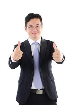 Excitado, polegar cima, 30s asiático, homem negócios, em, terno preto, isolado, branco, fundo
