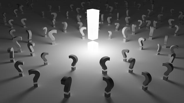 Exclamação cercada por perguntas