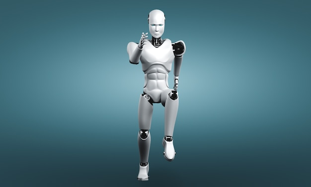 Executando um robô humanóide mostrando movimento rápido e energia vital no conceito de desenvolvimento de inovação futura