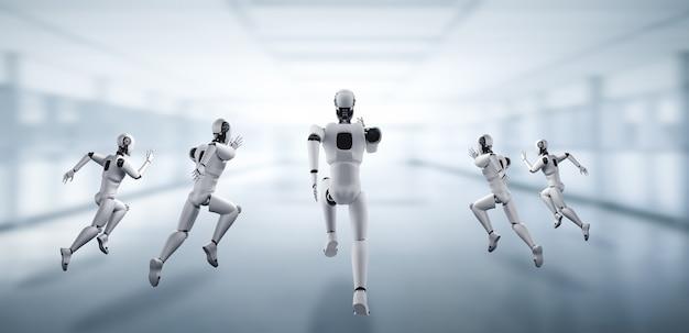 Executando um robô humanóide mostrando movimento rápido e energia vital