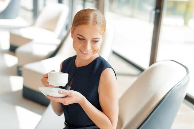 Executiva, com, café, ou, xícara chá