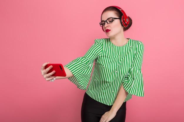 Executiva, com, telefone, e, fones ouvido