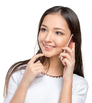 Executiva, isolado, com, telefone móvel