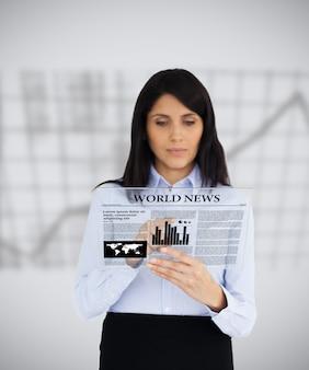 Executiva, leitura, um, virtual, jornal, branco, fundo, com, gráfico