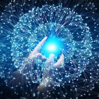 Executiva, usando, dados, rede, com, seu, telefone móvel
