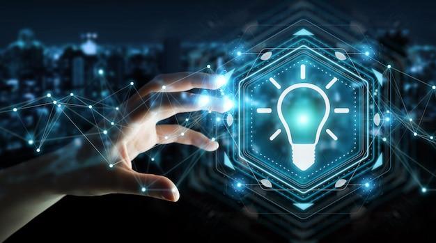 Executiva, usando, lightbulb, idéia, interface, 3d, fazendo