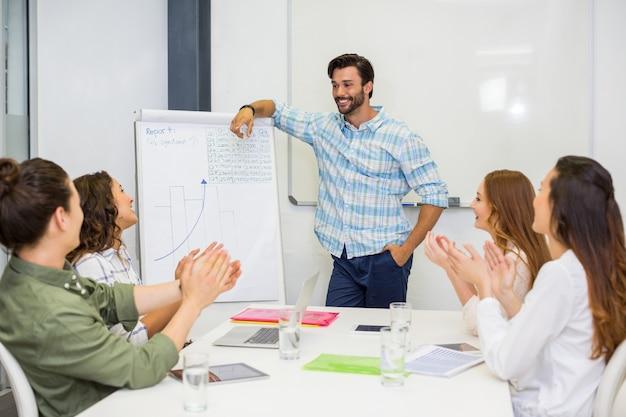 Executivos, apreciando seu colega durante apresentação na sala de conferências