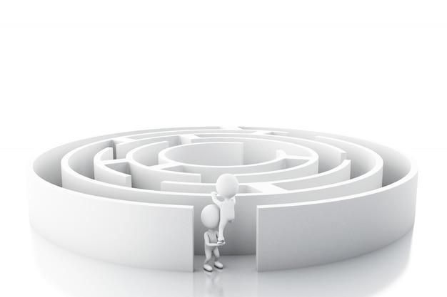 Executivos brancos 3d com um labirinto.
