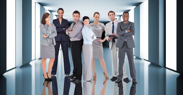 Executivos sala de conexão corredor corporativo