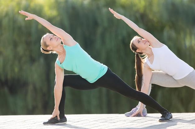 Exercício de ângulo lateral prolongado em par