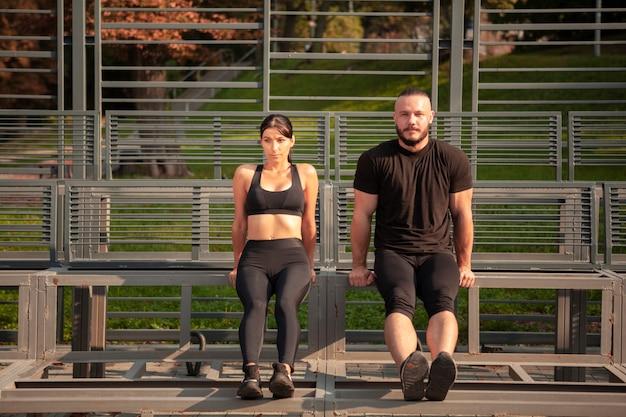 Exercício de resistência corporal no estádio
