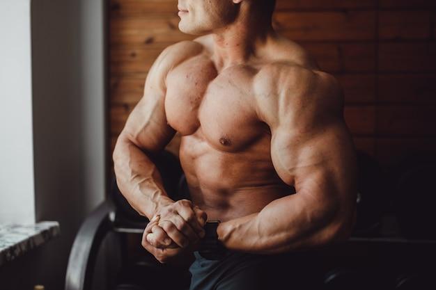 Exercício, homens, caucasiano, energia, treinamento