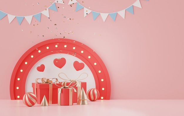 Exibe um pódio com um lindo fundo de coração para o dia dos namorados