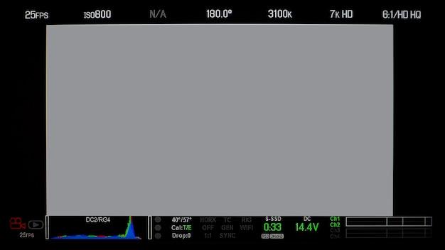 Exibição da tela do monitor de gravação e texto de informações detalhadas e isoladas.