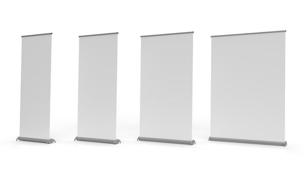 Exibição de banner pullup mecanismo de enrolar e sinalização isolada em um fundo branco