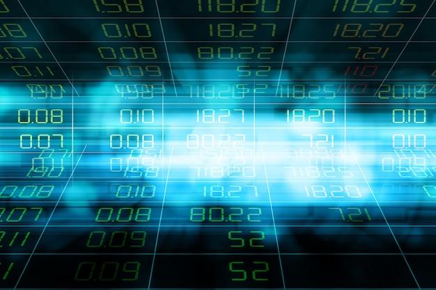 Exibição de citações do mercado de ações no fundo abstrato do borrão de movimento azul.