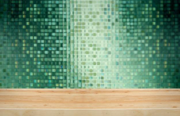 Exibição de mesa de madeira para o presente produto com mosaico de vidro na ba