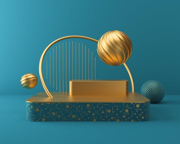 Exibição de palco no pódio em cena de cor azul e ouro, fundo de renderização 3d.