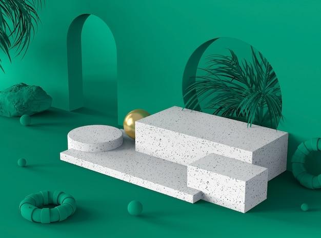 Exibição de pódio de cena de cor verde floresta para mostrar produtos ou cosméticos na pedra de mármore branco terrazzo