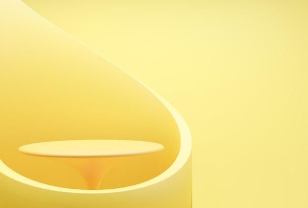 Exibição de pódio de forma geométrica abstrata de cor amarela