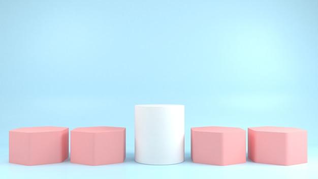 Exibição de pódio de forma geométrica branca diferente em fundo azul pastel