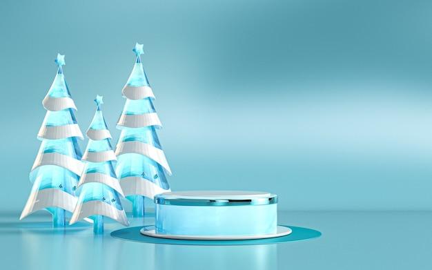 Exibição de pódio de luxo de feliz natal de inverno para apresentação de produtos renderização em 3d