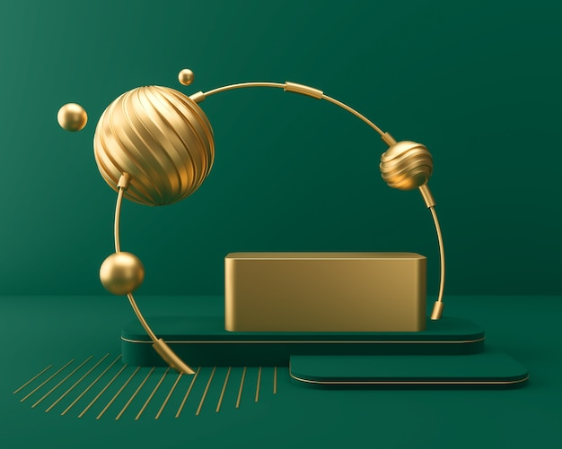 Exibição de pódio de palco em cena de cor verde e ouro, fundo de renderização 3d.