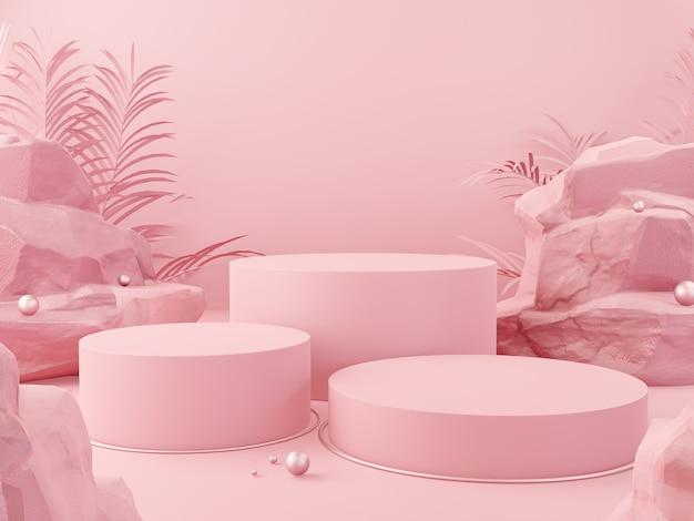 Exibição de pódio geométrico de cor rosa abstrata para apresentação de produtos cosméticos