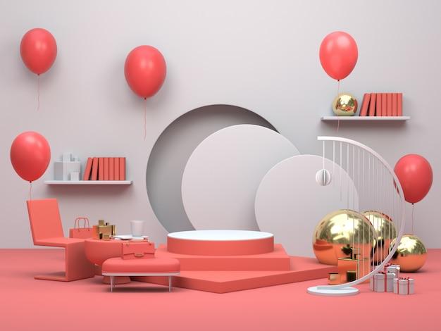 Exibição de pódio minimalista moderna ou vitrine, apartamento sala interior com balões