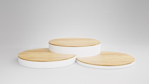 Exibição de produto de madeira geométrica ou vitrine de fundo branco, maquete minimalista para apresentação de pódio ou conceito de modelo de produto de plataforma.
