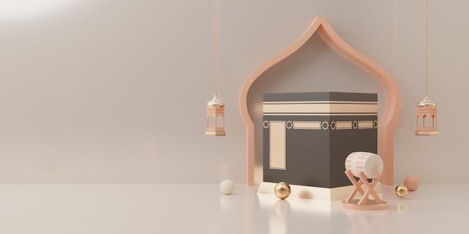 Exibição do pódio com renderização em 3d do conceito de venda do produto eid mubarak
