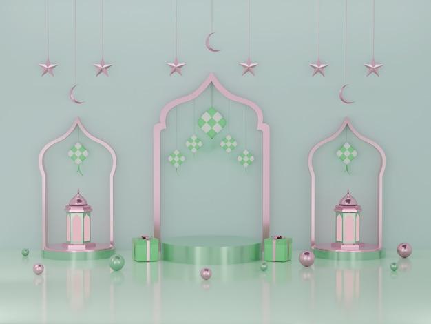 Exibição do pódio com renderização em 3d do produto ramadã e eid mubarak