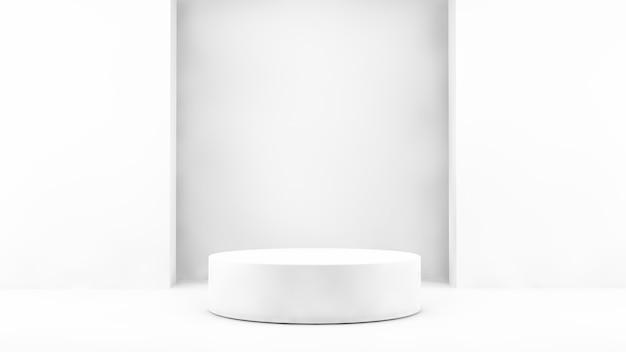 Exibição do produto com branco mínimo em renderização 3d